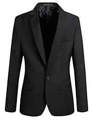 cheap -Men's Plus Size Blazer, Solid Colored Shirt Collar Polyester Black / Wine / Blue