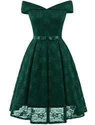 cheap -A-Line Hot Green Wedding Guest Cocktail Party Dress Off Shoulder Short Sleeve Short / Mini Lace with Bow(s) Pleats 2020