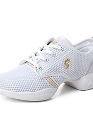 cheap -Women's Dance Shoes Mesh Dance Sneakers Sneaker Flat Heel Black / Peach / Black / Red / Performance