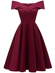 cheap -A-Line Hot Red Homecoming Cocktail Party Dress Off Shoulder Short Sleeve Knee Length Stretch Satin Cotton with Pleats 2020