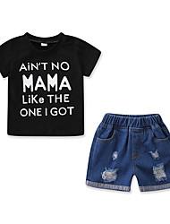 cheap -Baby Boys' Active / Basic Print Ripped / Print Short Sleeve Regular Cotton Clothing Set Black / Toddler