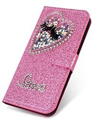 cheap -Case For Samsung Galaxy A5(2018) / A6 (2018) / A6+ (2018) Wallet / Card Holder / Rhinestone Full Body Cases Heart / Glitter Shine Hard PU Leather