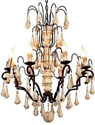 Недорогие -Старинная люстра на 8 ламп / деревянная хрустальная лампа в стиле ретро для кафе-бара гостиная столовая светильники / e12 / e14 без лампы
