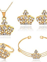 cheap -Women's Cuff Bracelet Stud Earrings Pendant Necklace Hollow Out Crown Rhinestone Earrings Jewelry Gold For Daily 1 set / Open Ring