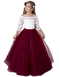 cheap -Ball Gown Maxi Flower Girl Dress - Cotton / Lace / Tulle Half Sleeve Off Shoulder with Lace