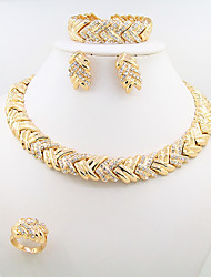 cheap -Women's Gold Choker Necklace Necklace Bridal Jewelry Sets Braided Tower Leaf Wings Simple Africa Oversized Ancient Egypt 18K Gold Plated Earrings Jewelry Gold For Wedding Party Engagement Gift Promise