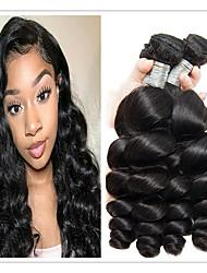 cheap -4 Bundles Brazilian Hair Loose Wave 100% Remy Hair Weave Bundles Natural Color Hair Weaves / Hair Bulk Extension Bundle Hair 8-28 inch Natural Color Human Hair Weaves Odor Free Best Quality Hot Sale