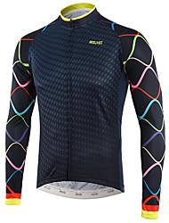 cheap -Arsuxeo Men's Long Sleeve Cycling Jersey Winter White Royal Blue Bike Top Mountain Bike MTB Road Bike Cycling Back Pocket Sweat-wicking Sports Clothing Apparel / Triathlon / Multi-panel Construction