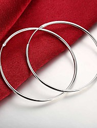 cheap -Women's Hoop Earrings Hollow Out Stylish Simple Huge Silver Plated Earrings Jewelry Silver For Daily Work 1 Pair
