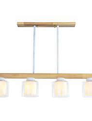 cheap -Ecolight 4-Light 10 cm Creative Candle Style Chandelier Wood Bamboo Glass Sputnik Drum Geometrical Wood Vintage Retro 110-120V 220-240V
