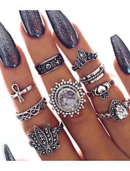cheap -Women's Ring Ring Set Midi Rings Crystal 9pcs Silver Alloy Classic Vintage European Daily Carnival Jewelry Retro Flower Cool