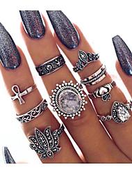 cheap -Ring Crystal Retro Silver Alloy Flower Classic Vintage European 9pcs 5 6 7 8 9 / Women's / Ring Set