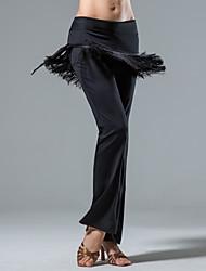 cheap -Latin Dance Bottoms Women's Performance 100% Polyester / Terylene Tassel Natural Pants