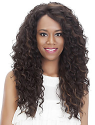 cheap -Synthetic Wig Curly Afro Side Part Wig Long Light Brown Brown / Burgundy Synthetic Hair 18 inch Women's Fashionable Design Women Synthetic Dark Brown Light Brown