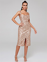 cheap -Sheath / Column Scoop Neck Knee Length Sequined Sparkle / Pink Wedding Guest / Cocktail Party Dress with Sequin / Split 2020