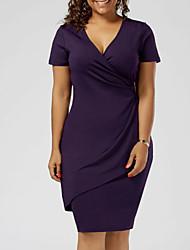 cheap -Women's Sheath Dress - Solid Colored Black Gray Purple XXXL XXXXL XXXXXL