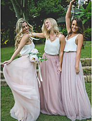 cheap -A-Line Plunging Neck Sweep / Brush Train Chiffon / Tulle Bridesmaid Dress with Sash / Ribbon