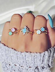 cheap -Women's Nail Finger Ring Ring Set Midi Ring Opal 5pcs Gold Alloy Round Sweet Colorful Party Gift Jewelry Fancy Candy Cool Lovely