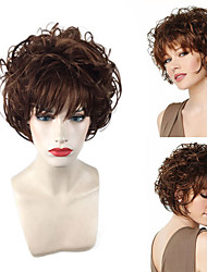 cheap -Synthetic Wig Curly Wavy Teaira Pixie Cut Neat Bang Wig Short Brown Synthetic Hair 12 inch Women's Adjustable Heat Resistant Easy dressing Brown