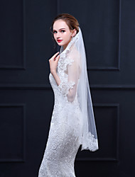 cheap -One-tier Stylish / Lace Applique Edge Wedding Veil Fingertip Veils with Appliques 39.37 in (100cm) Lace / Tulle / Oval