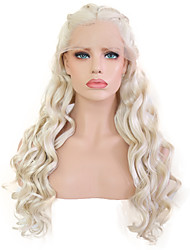cheap -Synthetic Lace Front Wig Wavy Middle Part Lace Front Wig Blonde Long Platinum Blonde Synthetic Hair 20-24 inch Women's Adjustable Heat Resistant Party Blonde
