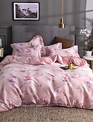 cheap -Duvet Cover Sets Solid Colored / Floral / Botanical Poly / Cotton Printed 4 PieceBedding Sets
