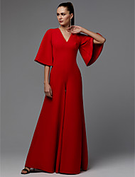 cheap -Jumpsuits V Neck Floor Length Satin Minimalist / Red Engagement / Formal Evening Dress with Pleats 2020