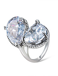 cheap -Women's Ring Crystal 1pc Silver Chrome Silver-Plated Statement Unique Design Trendy Party Gift Jewelry Pear Cool