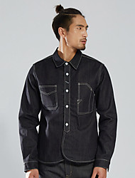 cheap -Men's Hiking Shirt / Button Down Shirts Outdoor Quick Dry Top Cotton Denim Invisible Camping / Hiking / Caving Winter Sports Black / Rough Black