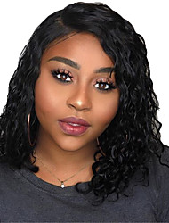 cheap -Human Hair Lace Front Wig Bob Short Bob Side Part style Brazilian Hair Curly Black Wig 130% Density with Baby Hair Natural Hairline For Black Women 100% Virgin 100% Hand Tied Women's Short Human Hair