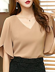cheap -Women's Daily Wear Blouse - Solid Colored Chiffon / Fashion V Neck Black / Spring / Summer / Fall