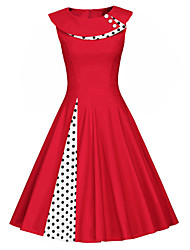 cheap -Women's Red Black Dress Vintage Swing Polka Dot Solid Colored Patchwork S M Slim