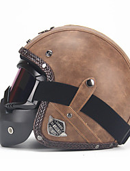 cheap -Unisex PU Leather Helmets 3/4 Motorcycle Chopper Bike Helmet Open Face Vintage Motorcycle Helmet with Goggle Mask