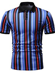cheap -Men's Striped Print Polo Business Work Red / Yellow