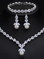 cheap -Women's AAA Cubic Zirconia Bridal Jewelry Sets Classic Love Vintage Cute Platinum Plated Earrings Jewelry White For Wedding Party 1 set