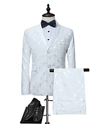 cheap -White Solid Colored / Checkered Tailored Fit Polyester Suit - Notch Single Breasted Two-buttons