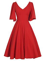 Недорогие -Жен. Винтаж С летящей юбкой Платье - Однотонный, Рюши Средней длины