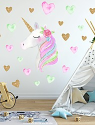 cheap -Creative Children'S Self-Adhesive Cartoon Unicorn With Pvc Decorative Wall Stickers - Animal Wall Stickers Animals Kids Room / Nursery