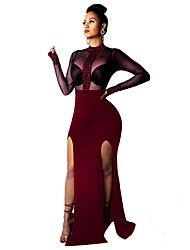 cheap -Women's Basic Maxi Loose Bodycon Sheath Dress - Geometric Split Print Turtleneck Black Wine Blue S M L XL