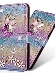 Недорогие -Кейс для Назначение SSamsung Galaxy S9 / S9 Plus / S8 Plus Кошелек / Бумажник для карт / Стразы Чехол С сердцем / Сияние и блеск Твердый Кожа PU