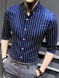 cheap -Men's Wedding Party Basic Shirt - Striped Black
