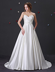 cheap -Ball Gown Sweetheart Neckline Court Train Satin Strapless Wedding Dresses with Beading / Appliques / Side-Draped 2020