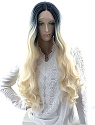 cheap -Wavy Body Wave Asymmetrical Lace Front Wig Very Long Black / White Synthetic Hair 24 inch Women's Party Synthetic Color Gradient Black White