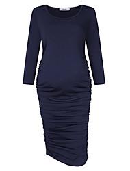 cheap -Women's Knee-length Maternity Royal Blue Dress Basic Sheath Solid Colored S L