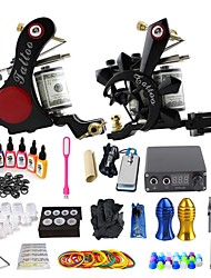 cheap -BaseKey Tattoo Machine Starter Kit - 2 pcs Tattoo Machines with 7 x 15 ml tattoo inks, Professional, New DC12V Case Not Included 18 W 2 alloy machine liner & shader