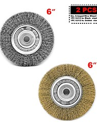 cheap -Crimped Wire Bench Wheel 2 pcs 6 x 1/2 5/8 for DeWalt & Makita Heavy Duty