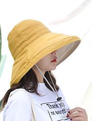 Недорогие -Жен. Активный Классический Симпатичные Стиль Шляпа от солнца Хлопок Лён,Однотонный Весна Лето Лиловый Желтый Пурпурный