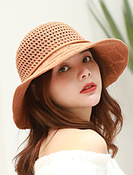 cheap -Women's Active Basic Cute Cotton Polyester Sun Hat-Solid Colored Spring Summer Navy Blue Light Brown Light gray