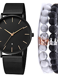 cheap -Men's Steel Band Watches Quartz Gift Set Stainless Steel Black No Calendar / date / day Chronograph Cute Analog New Arrival Fashion - Black Black / Rose Gold One Year Battery Life