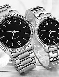 cheap -Couple's Steel Band Watches Quartz Stainless Steel Silver 30 m Water Resistant / Waterproof Creative Casual Watch Analog Classic Fashion - White Black One Year Battery Life